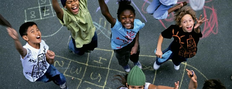 Children playing in a school playground.