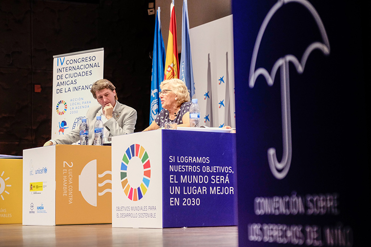 September 2017- Carlos Martinez (Mayor of Soria. Member of the Executive of the Spanish Federation of Municipalities and Provinces and Vice-President of the Council of Municipalities and Regions of Europe) and Mayor of Madrid Manuela Carmena speak at the IV International CFCI Conference hosted by the CFCI organized by the Spanish CFCI.