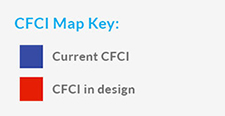 CFCI Map Key: Purple – Current CFCI; Red – CFCI in design