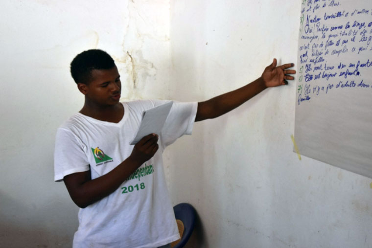 Presentation by a member of the children's council in Kédougou