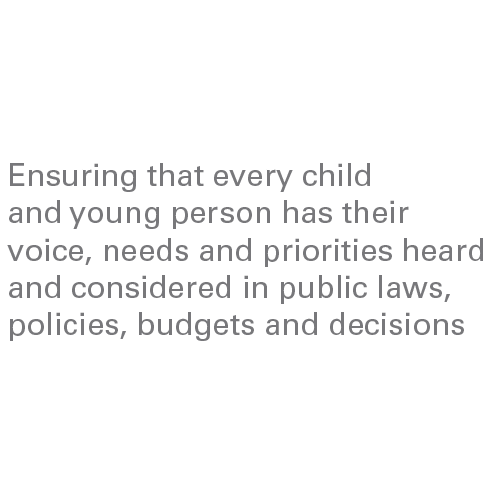 Ensuring that every child and young person has their voice, needs and priorities heard and considered in public laws, policies, budgets and decisions