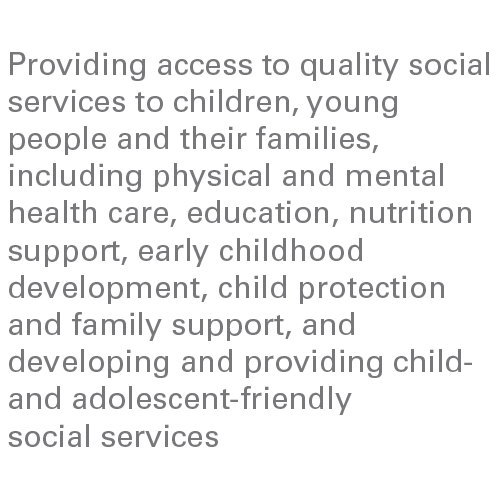 Providing access to quality social services to children, young people and their families, including physical and mental health care, education, nutrition support, early childhood development, child protection and family support, and developing and providing child- and adolescent-friendly social services