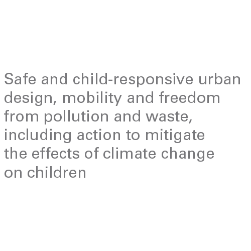 Safe and child-responsive urban design, mobility and freedom from pollution and waste, including action to mitigate the effects of climate change on children